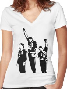 1968 Olympics Black Power Salute Women's Fitted V-Neck T-Shirt