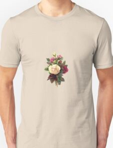 Roses, Flowers, Blooms, Leaves - Red Green White T-Shirt