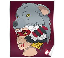 Native American Wolf Headdress Poster