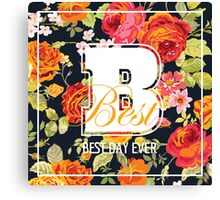 Shabby Chic Flowers Graphic Design Canvas Print