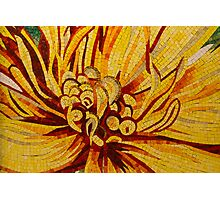 Sparkling, Intricate Golds and Yellows - a Floral Ceramic Tile Mosaic Photographic Print