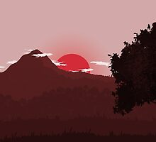 Flat 2D landscape red by salimgor