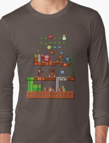 Pixel game characters fighting Long Sleeve T-Shirt