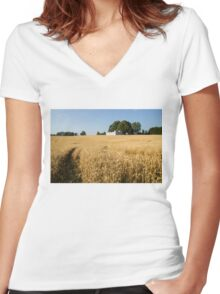 A Path in the Golden Wheat Field Women's Fitted V-Neck T-Shirt