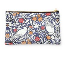 Blue Bird Freehand Sketch Watercolor Background Studio Pouch