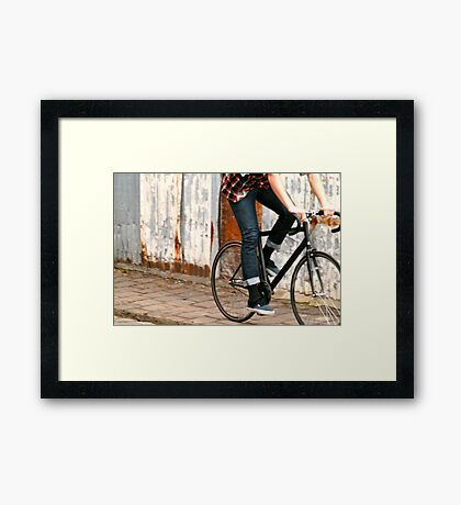 Fixie cycling in Melbourne Framed Print
