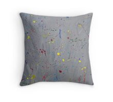 Splashes of Color in a Monochrome World Throw Pillow