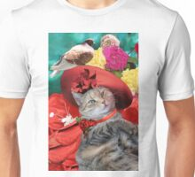PRINCESS TATUS CAT,RED HAT AND PIGEON  Unisex T-Shirt