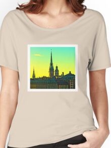 Sunset over Gamla Stan, Stockholm by Tim Constable Women's Relaxed Fit T-Shirt
