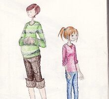 Pregnant Woman and little girl by Noemie capian