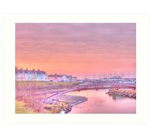 "Aberaeron Harbour Sunset HDR ""Painting"" Art Print"