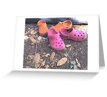 Camping Shoes and a Tent Greeting Card