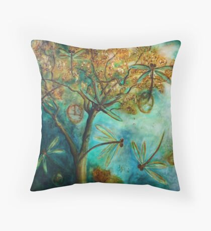 """Dragonfly Flirtation"" (Time is fleeting) Throw Pillow"