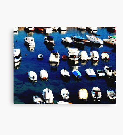 Water colour Boats in the Harbour - Dubrovnick Canvas Print