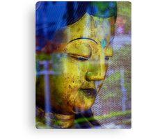 Golden Budda, Window reflection Canvas Print