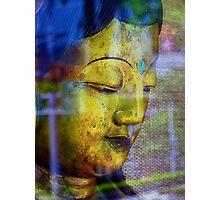 Golden Budda, Window reflection Photographic Print