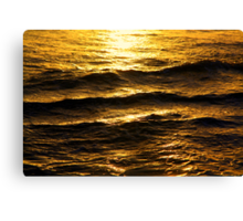 Golden glow on water and waves Canvas Print