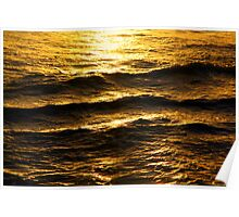 Golden glow on water and waves Poster