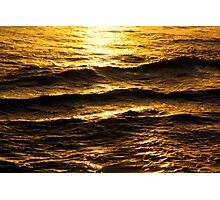 Golden glow on water and waves Photographic Print