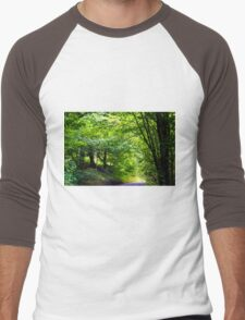 A drive through a road lined with Pretty trees Men's Baseball ¾ T-Shirt