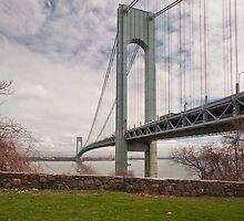 Verrazano Narrows Bridge viewed from Fort Wadsworth on Staten Island. by Edward Mahala