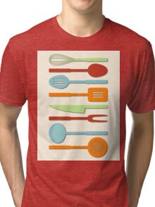 Kitchen Utensil Colored Silhouettes on Cream II Tri-blend T-Shirt