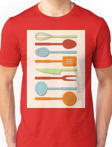Kitchen Utensil Colored Silhouettes on Cream II Unisex T-Shirt