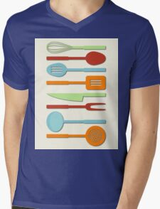 Kitchen Utensil Colored Silhouettes on Cream II Mens V-Neck T-Shirt