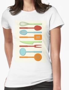 Kitchen Utensil Colored Silhouettes on Cream II Womens Fitted T-Shirt