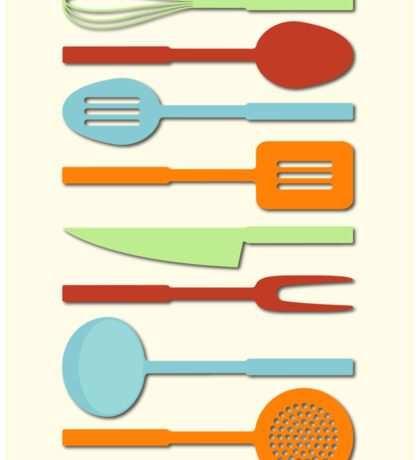 Kitchen Utensil Colored Silhouettes on Cream II Sticker