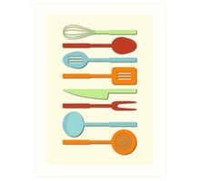 Kitchen Utensil Colored Silhouettes on Cream II Art Print