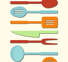 Kitchen Utensil Colored Silhouettes on Cream II by NataliePaskell