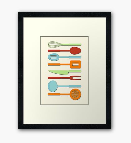 Kitchen Utensil Colored Silhouettes on Cream II Framed Print