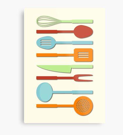 Kitchen Utensil Colored Silhouettes on Cream II Metal Print