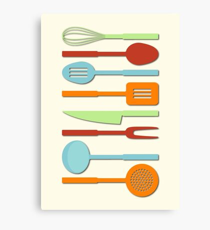 Kitchen Utensil Colored Silhouettes on Cream II Canvas Print