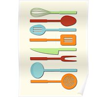 Kitchen Utensil Colored Silhouettes on Cream II Poster