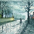 Church Lane, Sewerby by Moonlight by Glenn Marshall