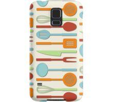 Kitchen Utensil Colored Silhouettes on Cream II Samsung Galaxy Case/Skin