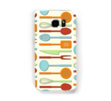 Kitchen Utensil Colored Silhouettes on Cream II Samsung Galaxy Case/Skin