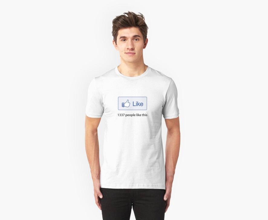 """Like Button """"1337 Popular"""" T-Shirt by likebutton"""