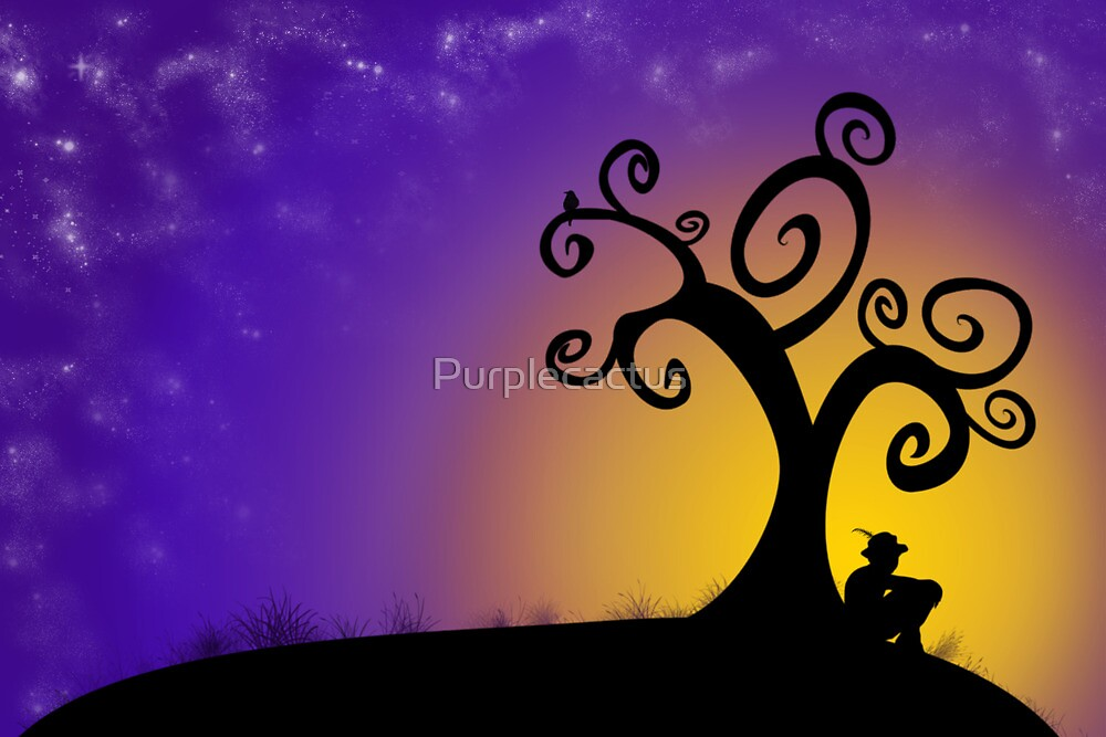 The boy, the tree and the stars by Purplecactus