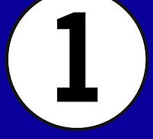1, First, ONE, Number One, Number 1, Racing, Numero Uno, on Navy Blue by TOM HILL - Designer
