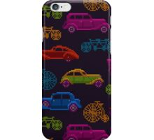 colorful cross-stitch textured vintage vehicles iPhone Case/Skin
