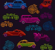 colorful cross-stitch textured vintage vehicles by nuanz