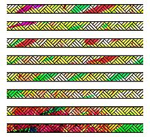 Neon & White Watercolor Lined Stripes Photographic Print