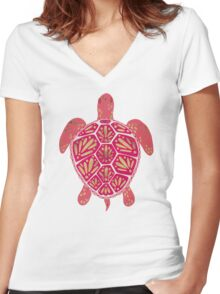 Pink & Gold Sea Turtle Women's Fitted V-Neck T-Shirt