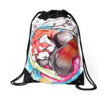 Red Panda Drawstring Bag