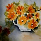 Happy Flowers- Watercolor painting by Esperanza Gallego