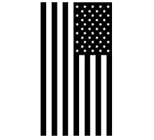 American Flag, mourning, in Black, Stars & Stripes, USA, America, Americana, Portrait, Black on White Photographic Print