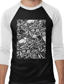 Black and White Sketch Bird Background Men's Baseball ¾ T-Shirt